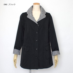 Gingham Reversible duster Coat Stand-fall Collar