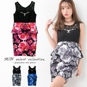 Rose Switching Sleeveless Plum One-piece Dress Sexy Floral Pattern Sleeveless