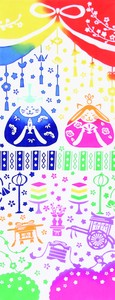 手ぬぐい 和布華 注染 春模様 (猫のひな祭り) TE-405