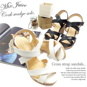 Closs Strap Beautiful Legs Cork Edge Sandal