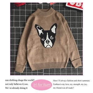 2018 A/W Dog Design Crew Neck Sweater