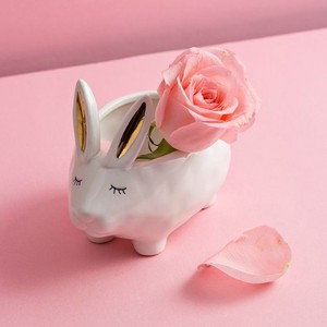 【Creative Co-Op Home】ラビット アクセサリーケース,Stoneware Rabbit Shaped Pot/Bowl Gold & White