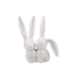 【Creative Co-Op Home】リングホルダー ペアラビット,Porcelain Bunny Rabbit Ring Holder