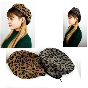Leopard Leather pin Wool Beret Animal
