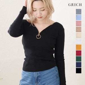 A/W Top Gold Ring Zipper Knitted Knitted Beautiful