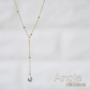 Crystal Clear Drop Line Short Gold Necklace