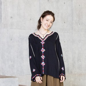 Rayon Diamond Embroidery Neck Pullover