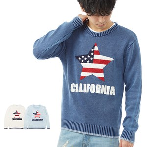 S/S Men's Star Stars And Stripes pen Jacquard Crew Neck Knitted
