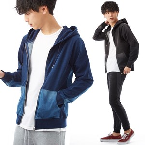 S/S Men's Cut Denim Color Scheme Switching Hoody Sweat Indigo