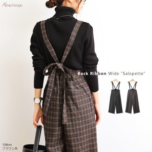 Bag Ribbon Checkered Wool Wide Pants Overall