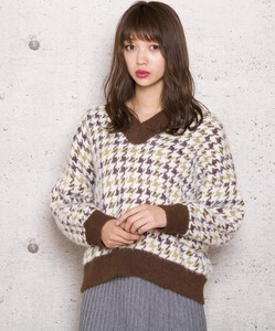 Houndstooth Pattern Knitted Top