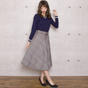 Bias Checkered Flare Skirt