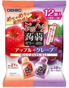 ぷるんと蒟蒻ゼリーパウチ アップル+グレープ 12個