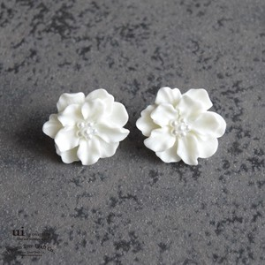 Pierced Earring Flower White Flower Accessory