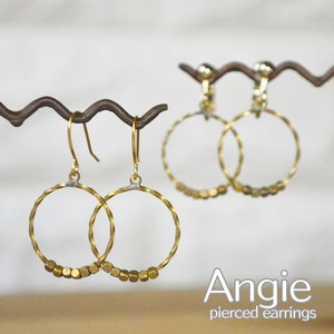 Brass Circle Rope Cube Gold Pierced Earring Earring