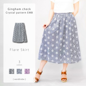 Gingham Check Embroidery Skirt