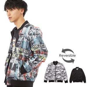 S/S Men's Repeating Pattern Reversible Nylon Blouson