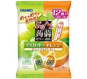 ぷるんと蒟蒻ゼリーパウチ マスカット+オレンジ 12個