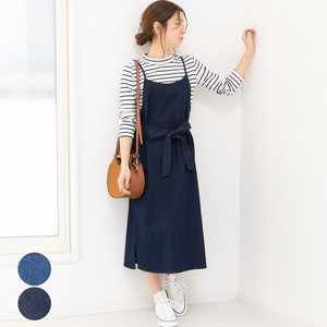 [2019NewItem] Waist Ribbon Denim Stretch One-piece Dress mitis