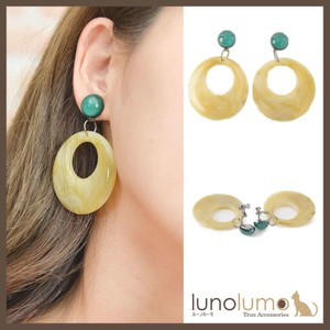 Earring Retro Ladies Bi-Color Larger Resin Parts Circle