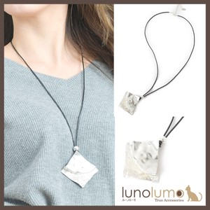 Necklace Pendant Ladies Metal Silver Leather Long Rhombus Casual