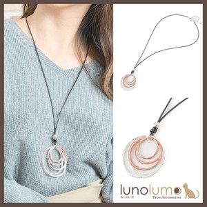 Necklace Pendant Ladies Metal Silver Pink Gold Leather Long Circle
