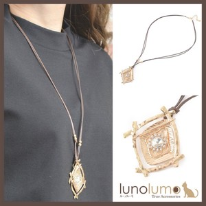 Necklace Pendant Ladies Metal Gold Bijou Leather Long Rhombus
