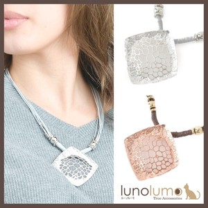 Necklace Pendant Ladies Metal Silver Pink Gold Mesh Rhombus