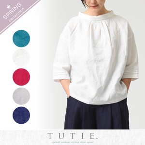 Linen Solid Color Roll Color Blouse