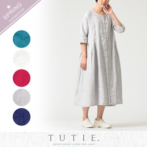 Linen Solid Color Tuck One-piece Dress