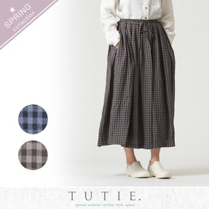 Clearance Sale Rayon Linen Gingham Tuck Skirt