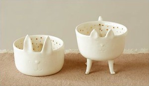 【Creative Co-Op Home】アクセサリーケース キャット,Stoneware Cat Shaped Bowl w/ Legs
