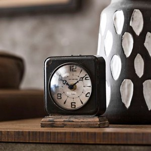 【Creative Co-Op Home】ヴィンテージテーブルクロック,Pewter Table Clock