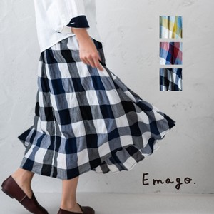 S/S Checkered Embroidery Flare Skirt