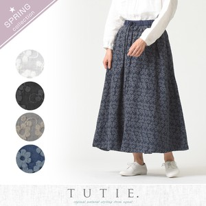 Cotton Linen Little Flower Embroidery Flare Skirt