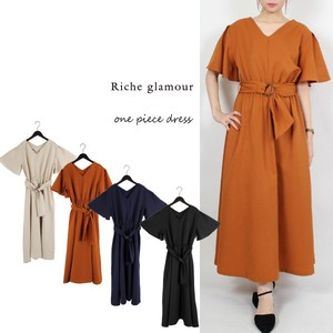 Twill Belt Attached Long One‐piece dress.