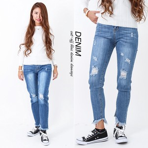 Ladies Cut Damage Denim
