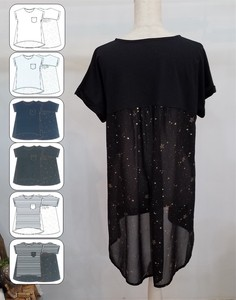 Material Switching Star Pattern Foaming Tunic