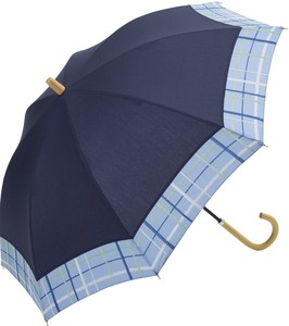 S/S All Weather Umbrella Stick Umbrella Checkered Embroidery
