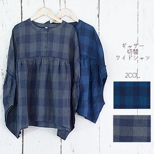 For Summer Checkered Linen Gather Switch Wide Shirt