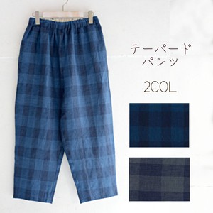 For Summer Checkered Linen Tapered Pants