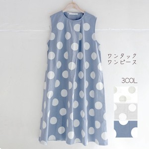 For Summer Original Dot Print Tuck One-piece Dress