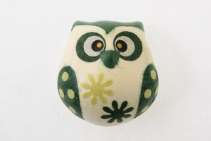 Owl Magnet Green Owl Hand Maid Japanese Paper Charm