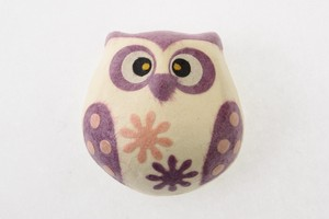 Owl Magnet Purple Owl Hand Maid Japanese Paper Charm