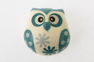 Owl Magnet Blue Owl Hand Maid Japanese Paper Charm