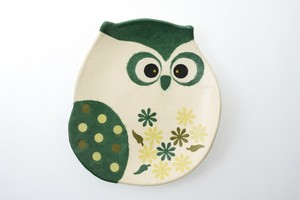 Owl Tray Green Owl Hand Maid Japanese Paper