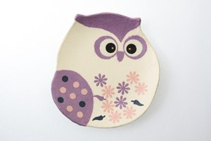 Owl Tray Purple Owl Hand Maid Japanese Paper