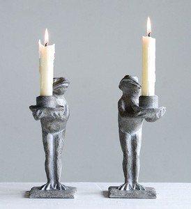 【Creative Co-Op Home】キャンドルホルダー フロッグ,Resin Frog Candle Holder, 2 Styles
