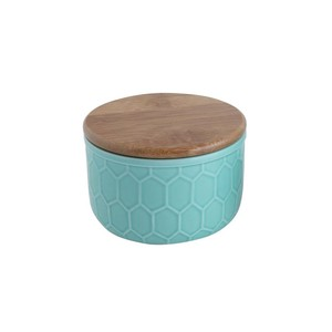 【Creative Co-Op Home】キャニスター S,Small Stoneware Canister w/ Honeycomb Design & Bamboo Lid