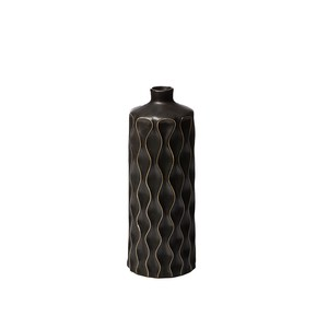 【Creative Co-Op Home】フラワーベース,Stoneware Vase Black